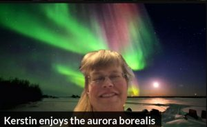 Kerstin enjoys the aurora borealis